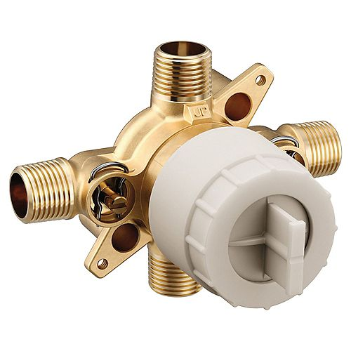 MOEN M-CORE 3-Series 1/2 in. 4 Port Tub and Shower Pre-Fabricated Mixing Valve with CC/IPS Connections and Stops