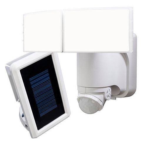 180 Degree 2-Head White Solar Powered Motion Outdoor Integrated LED Flood Light