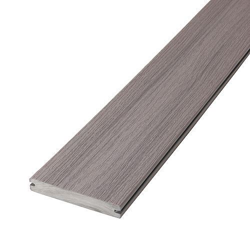 12 Pi Planche de terrasse en composite, rainurée et encapsulée- Lakeview Grey