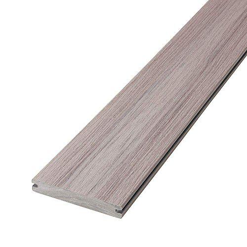 12 Pi Planche de terrasse en composite, rainurée et encapsulée- Fieldstone Grey