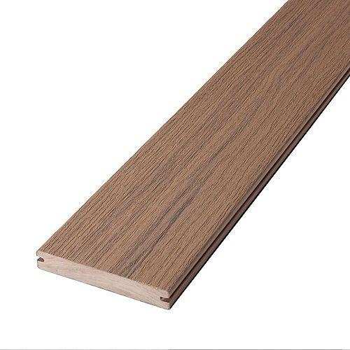 12 Pi Planche de terrasse en composite, rainurée et encapsulée- Riverside Brown