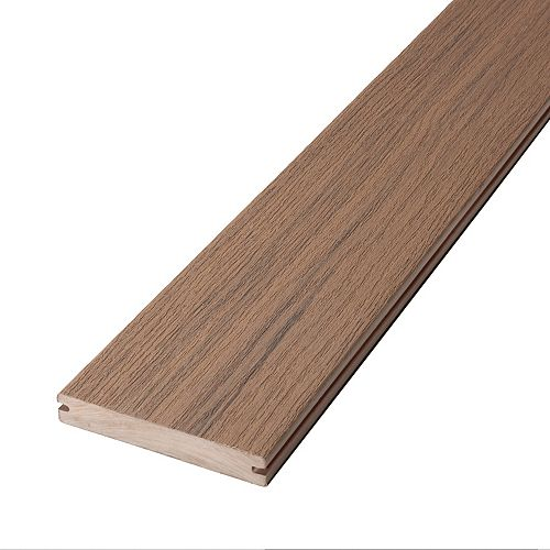 16 Pi Planche de terrasse en composite, rainurée et encapsulée- Riverside Brown