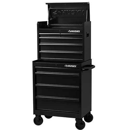 Husky 27-Inch 9-Drawer Mobile Tool Storage Chest And Cabinet Combo In Gloss Black