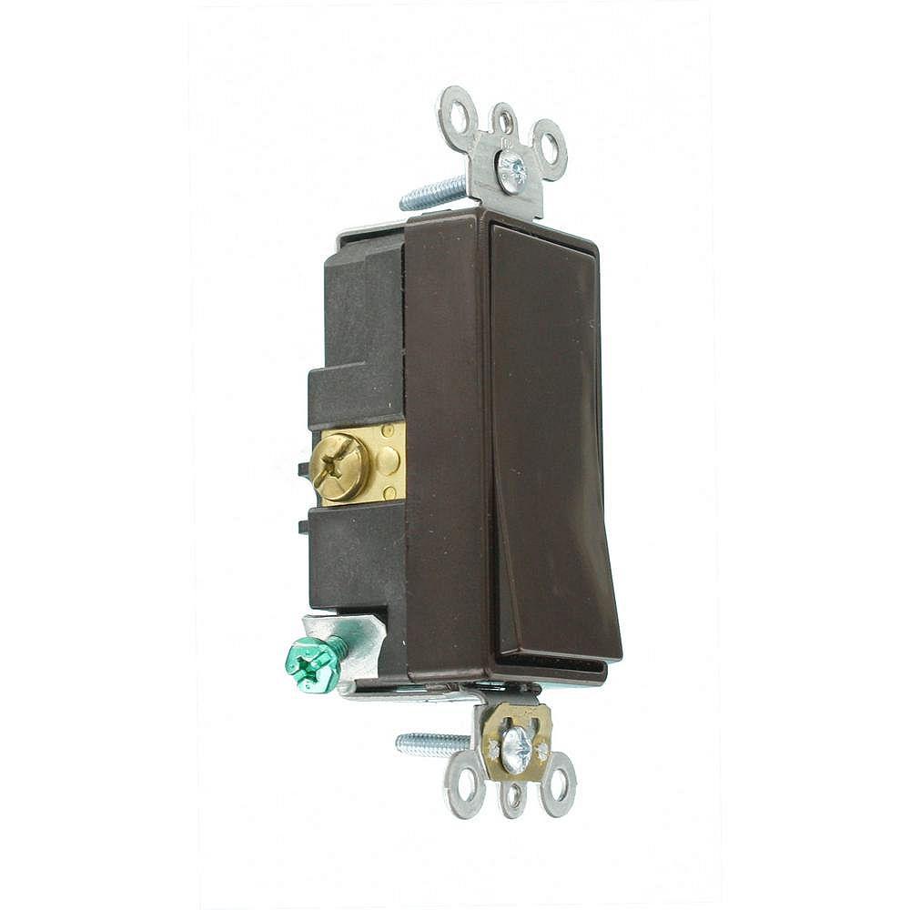 Leviton Decora Plus 20 Amp Commercial Grade Single Pole Rocker Switch in Brown