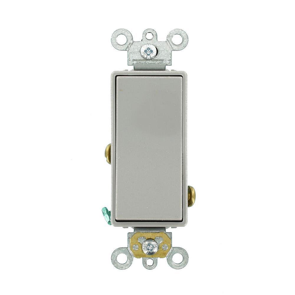Leviton Decora Plus 20 Amp Commercial Grade Single Pole Rocker Switch in Grey