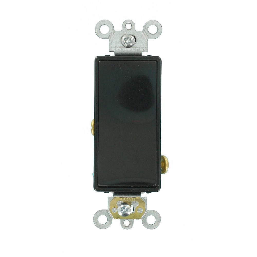 Leviton Decora Plus 20 Amp Commercial Grade Single Pole Rocker Switch in Black