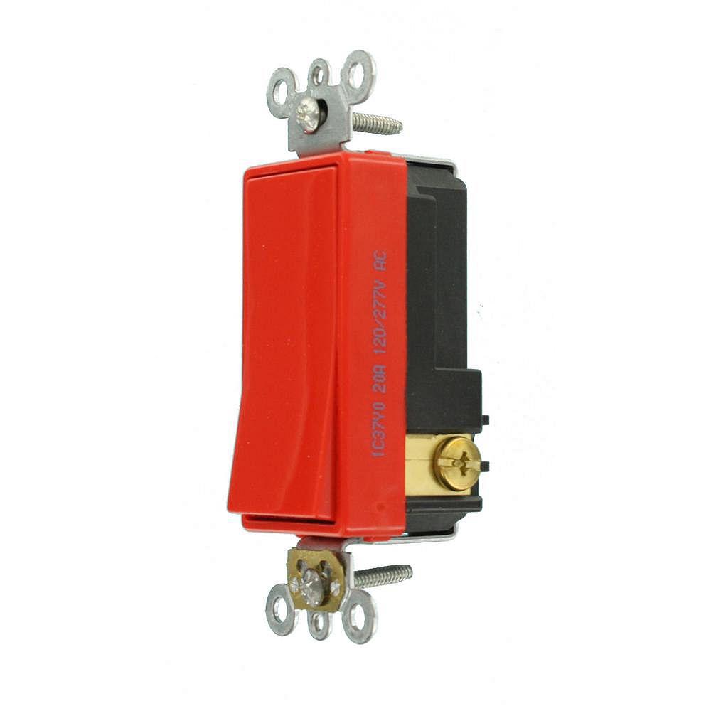Leviton Decora Plus 20 Amp Commercial Grade Single Pole Rocker Switch in Red