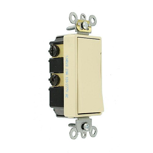 Decora Plus 20 Amp Commercial Grade Double Pole Rocker Switch in Ivory