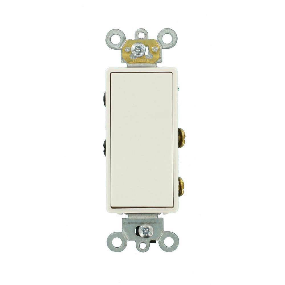 Leviton Decora Plus 20 Amp Commercial Grade Double Pole Rocker Switch in White