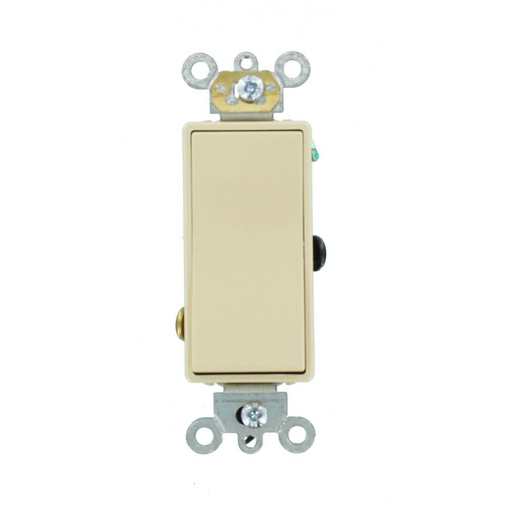 Leviton Decora Plus 20 Amp Commercial Grade 3-Way Rocker Switch, Ivory