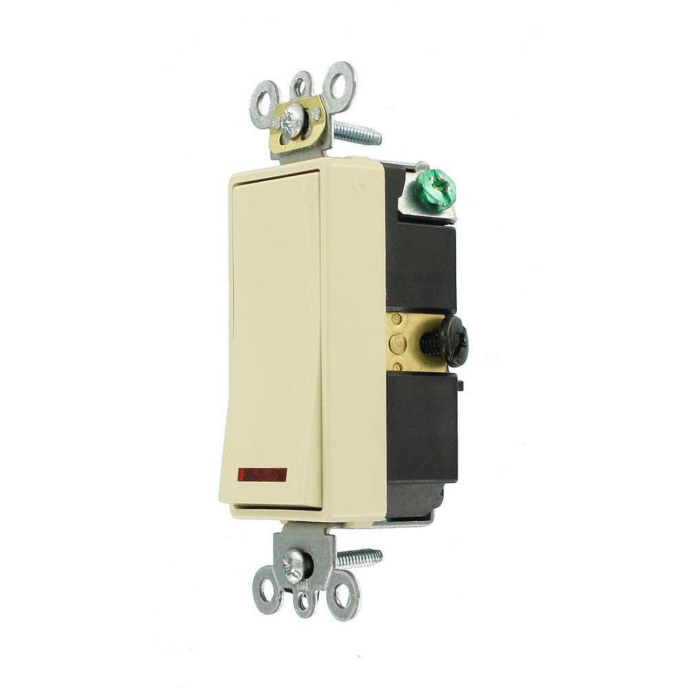 Leviton Decora 20A Switch Pilot Light Illuminated On Single-Pole Commercial Grade, Ivory