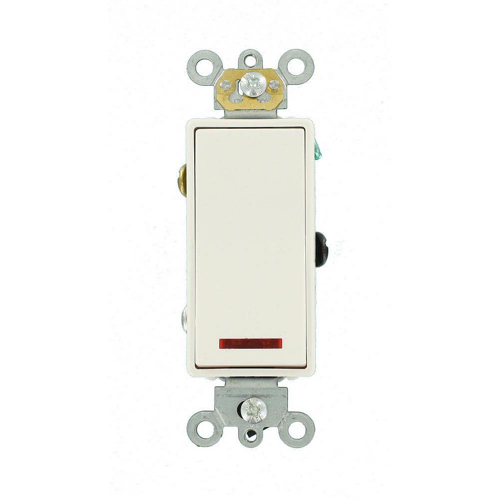 Leviton Decora 20A Switch Pilot Light Illuminated On Single-Pole Commercial Grade, White