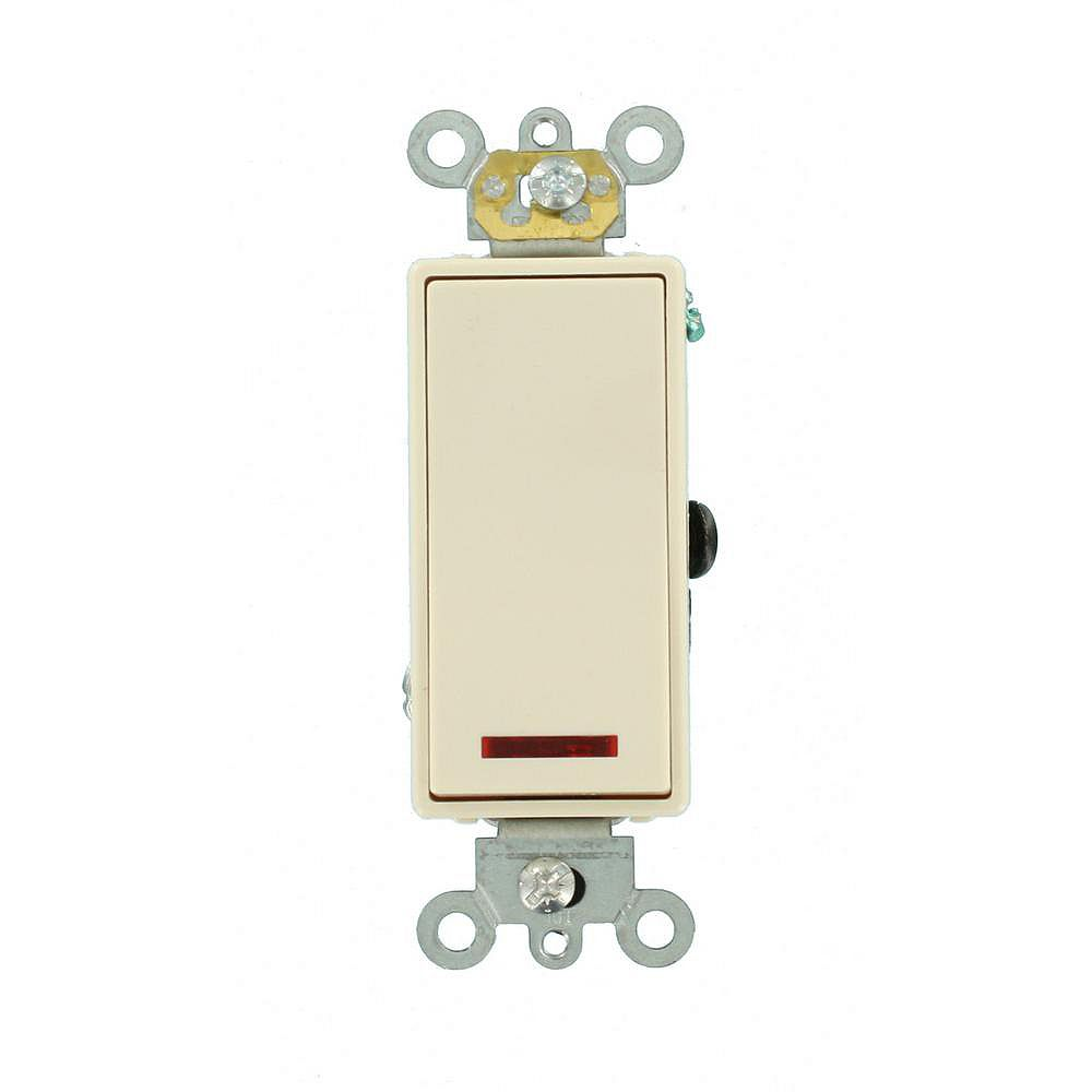 Leviton Decora 20A Switch Pilot Light Illuminated On Single-Pole Commercial Grade, Light Almond