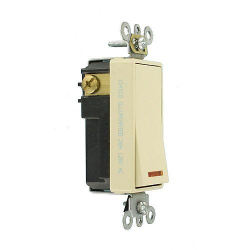 Decora 20A Switch Lighted Handle Illuminated OFF Single-Pole, Ivory