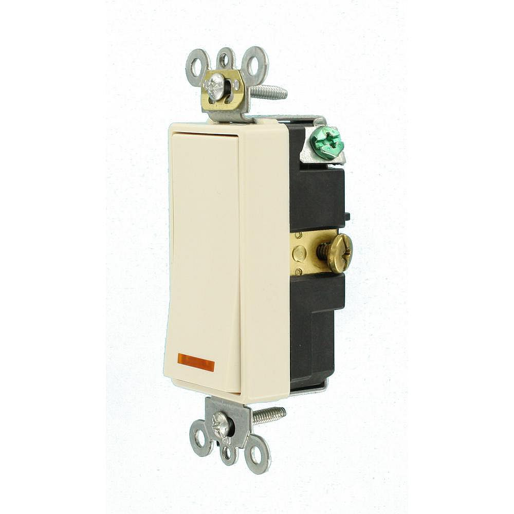 Leviton Decora 20A Switch Lighted Handle Illuminated OFF Single-Pole, Light Almond