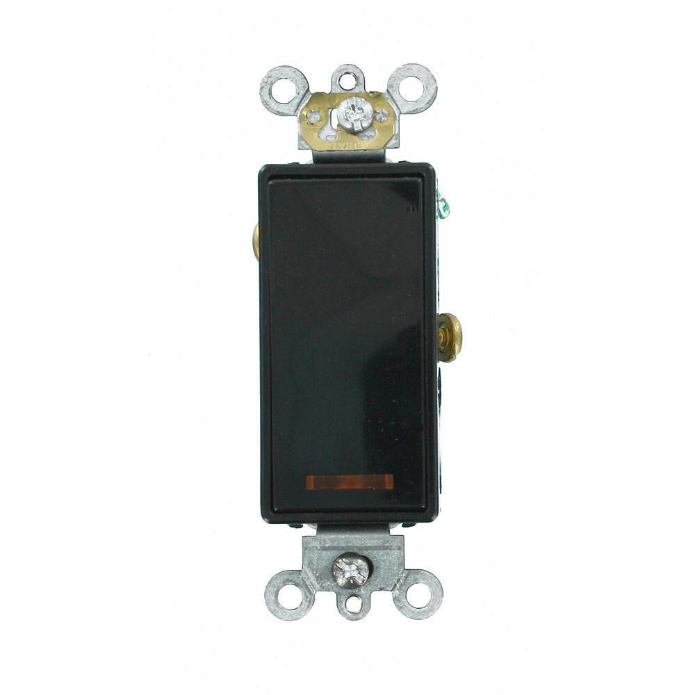 Leviton Decora 20A Switch Lighted Handle Illuminated OFF Single-Pole, Black
