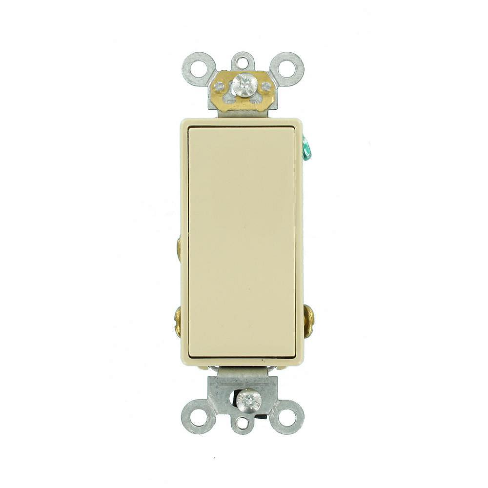 Leviton Decora 15A Switch Single-Pole Double Throw Center OFF Commercial Grade, Ivory