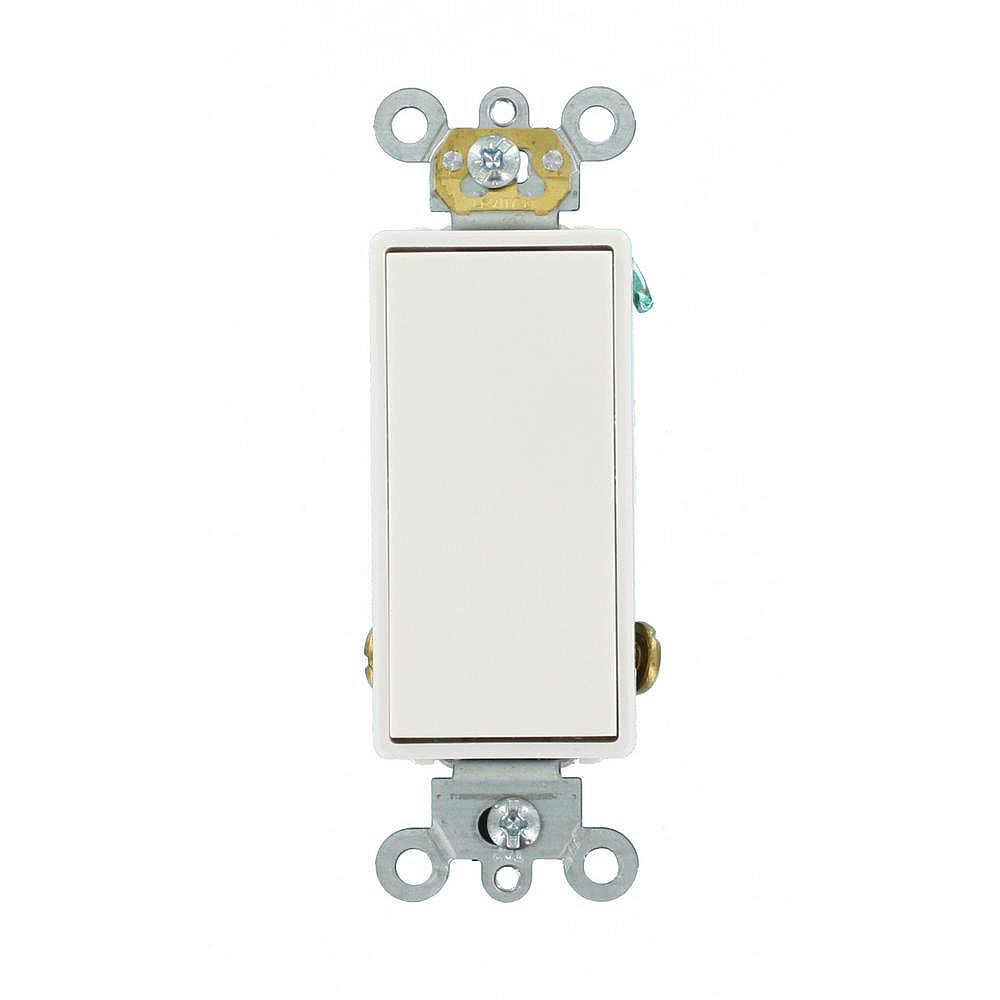 Leviton Decora 15A Switch Single-Pole Double Throw Center Off Maintained Contact, White