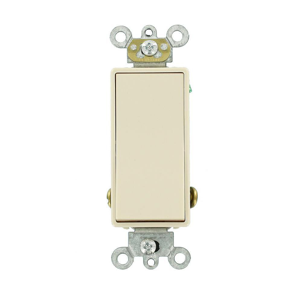 Leviton Decora 15A Switch Single-Pole Double Throw Center Off Maintained Contact, Light Almond