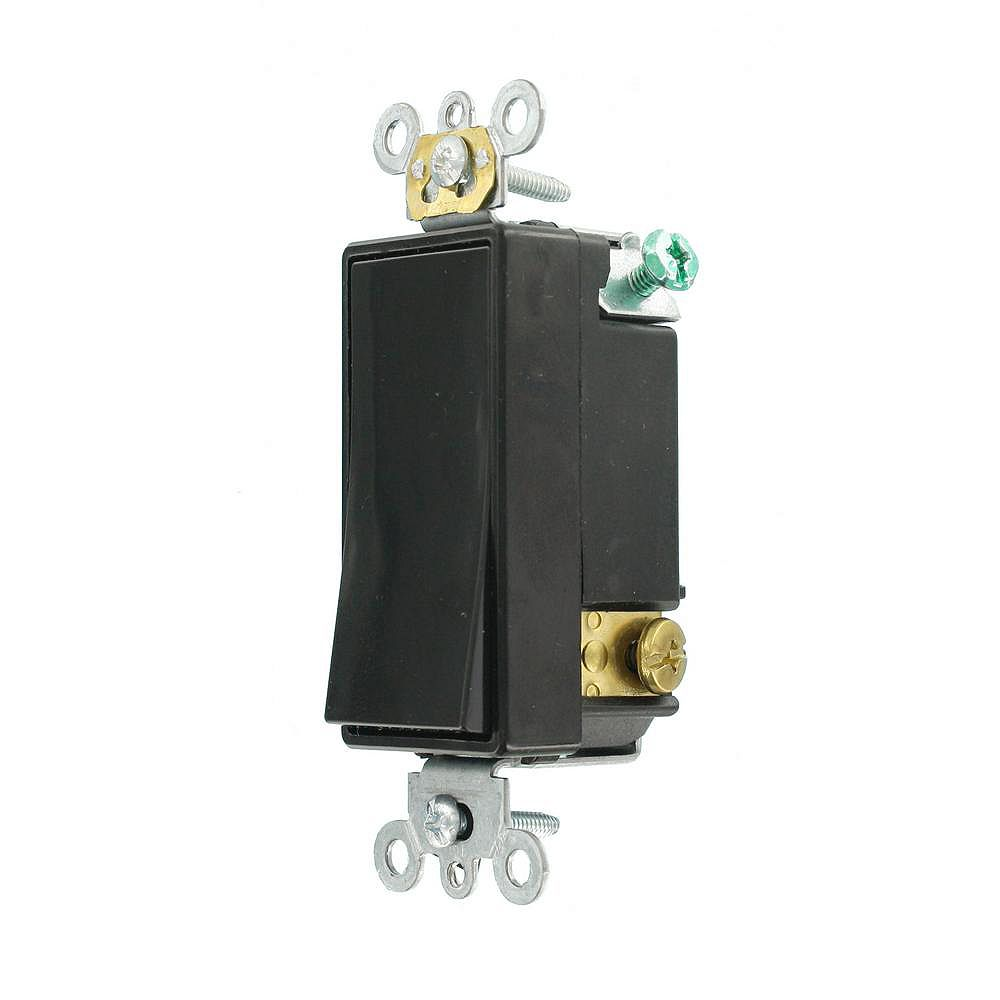 Leviton Decora 15A Switch Single-Pole Double Throw Center Off Maintained Contact, Black