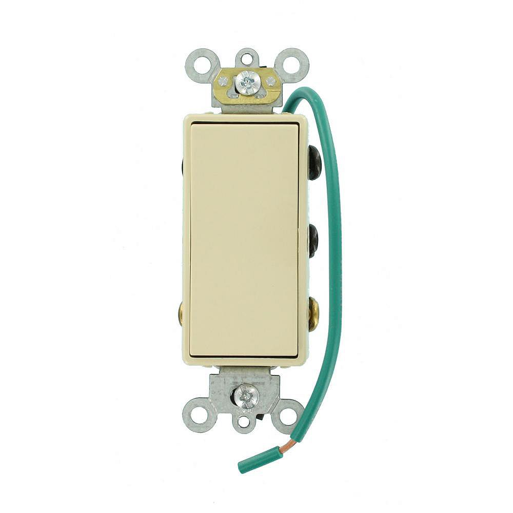 Leviton Decora 15A Switch Double-Pole Double Throw Center Off Maintained Contact, Ivory