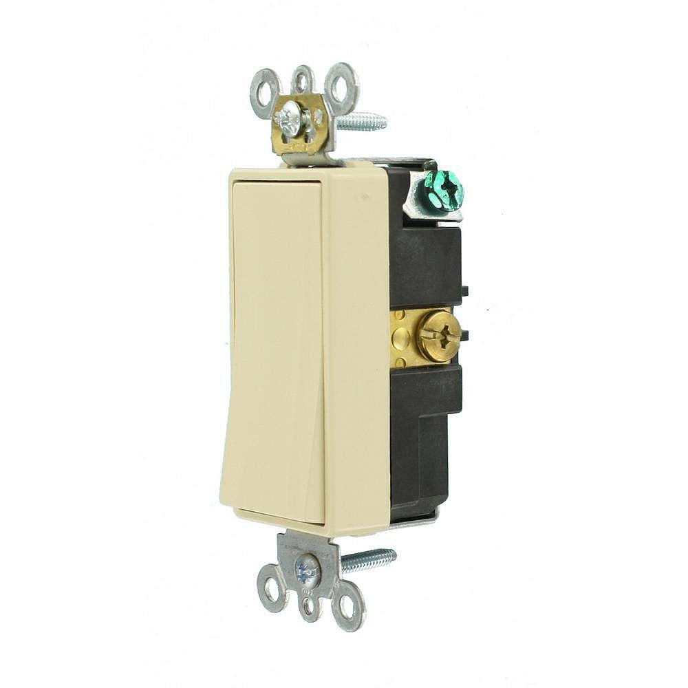 Leviton Decora 15A Switch Single-Pole Commercial Grade, Ivory