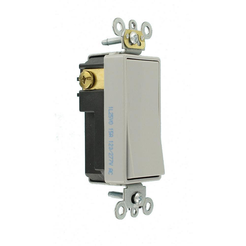 Leviton Decora 15A Switch Single-Pole Commercial Grade, Gray