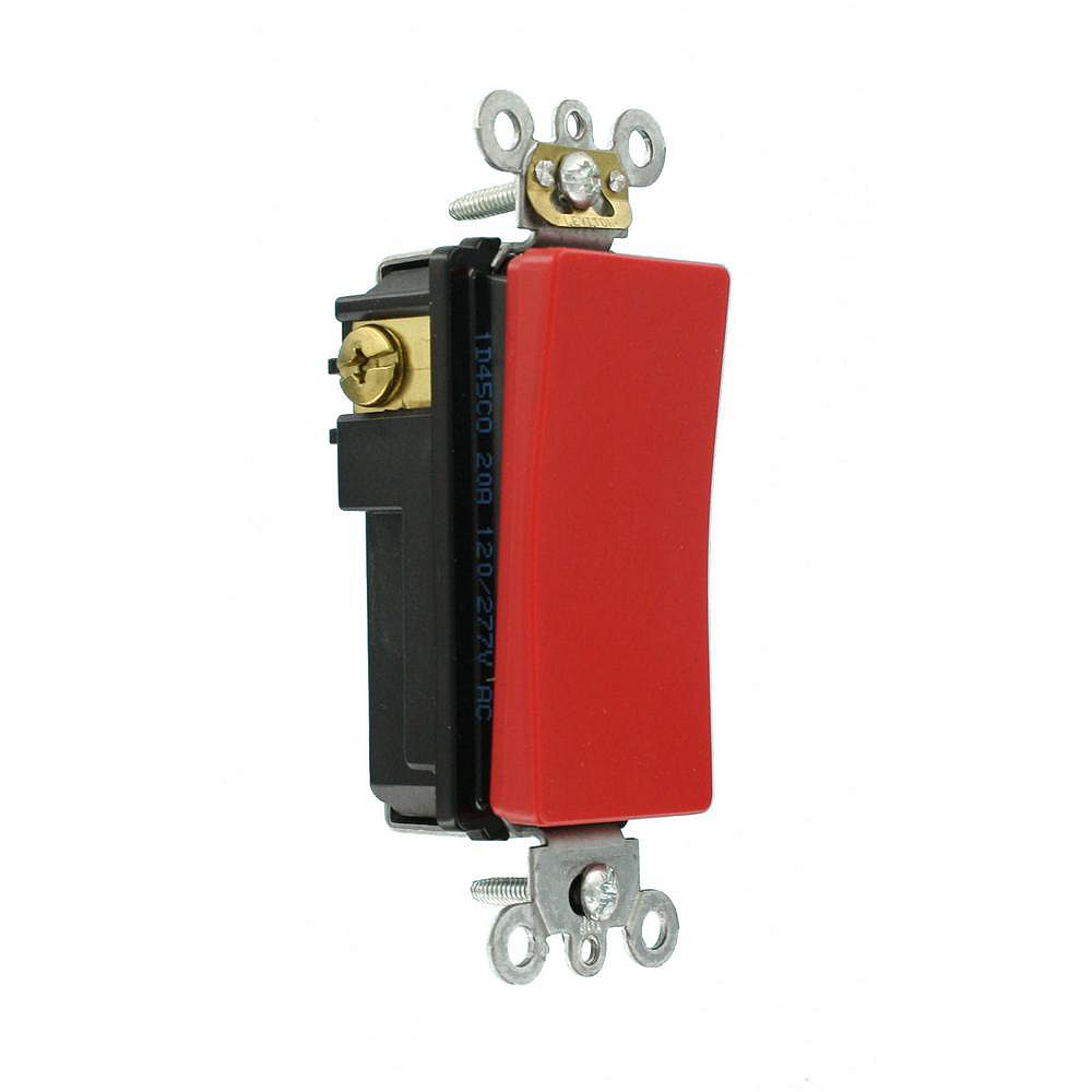 Leviton Decora 20A Switch Antimicrobial Treated Single-Pole, Red
