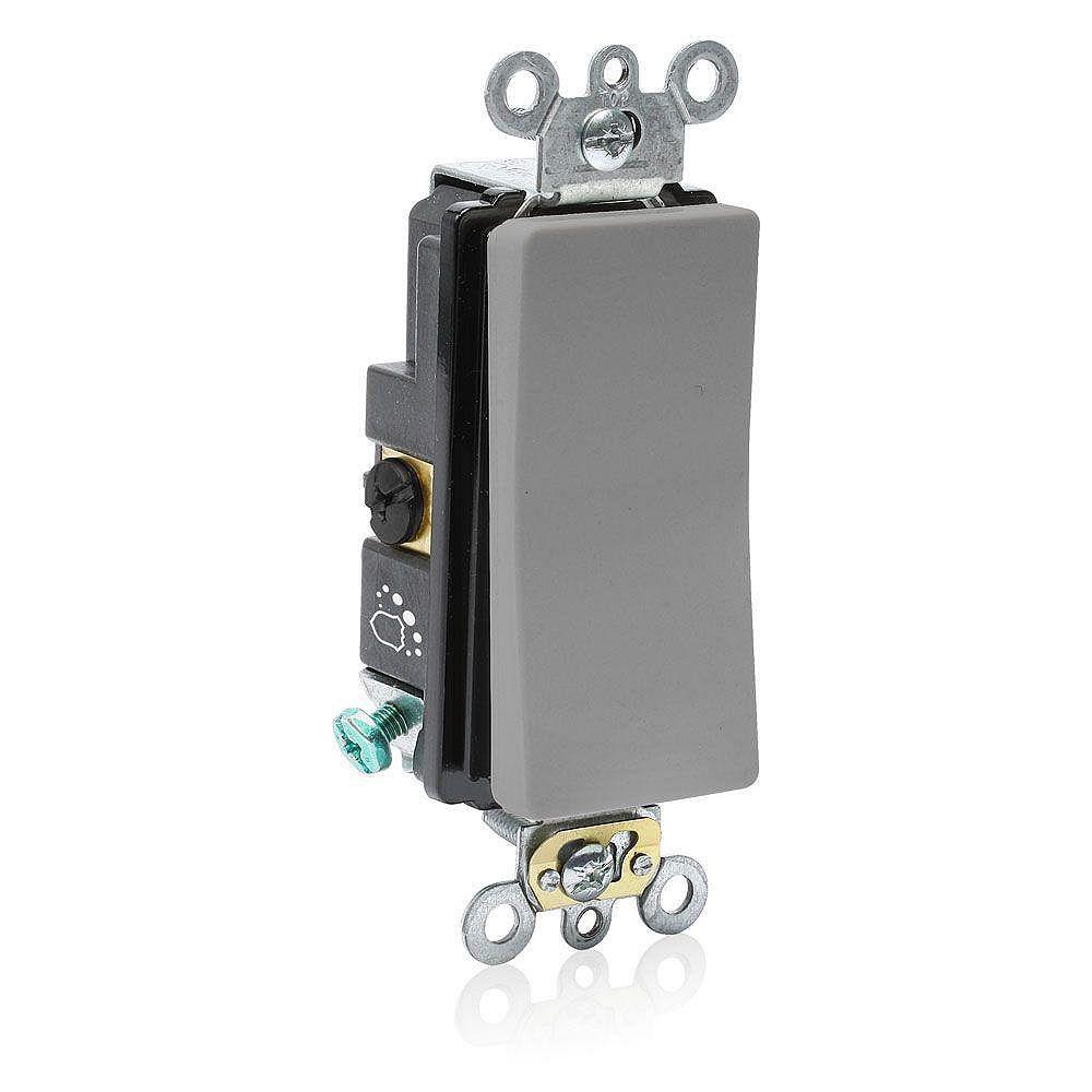 Leviton Decora 20A Switch 3W Antimicrobial Treated Single-Pole, Grey