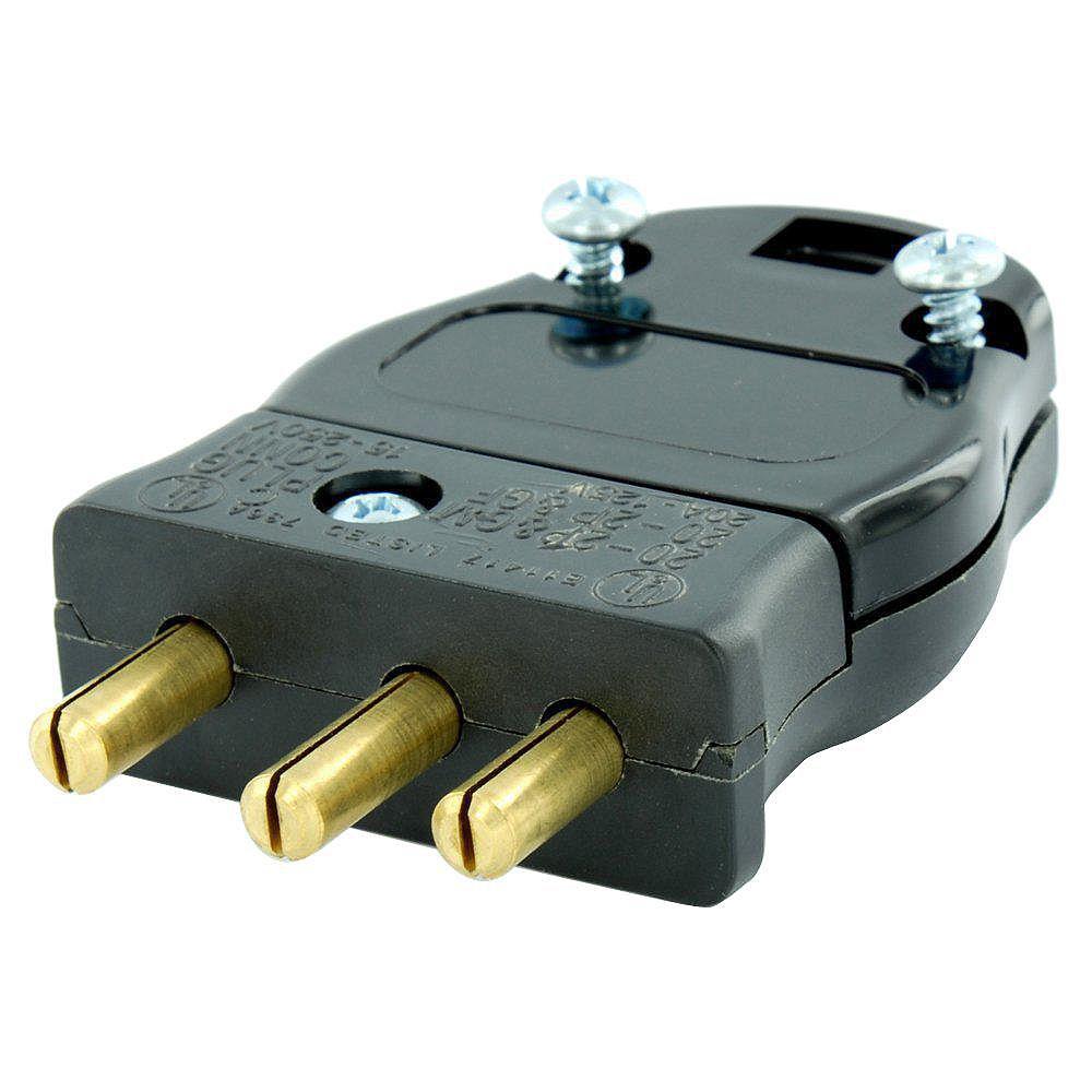 Leviton 20 Amp 125-Volt 2 Pole-3 Wire Stage Pin Male Plug Pressure Plate Terminals, Black