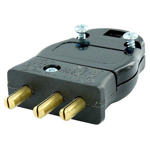 20 Amp 125-Volt 2 Pole-3 Wire Stage Pin Male Plug Pressure Plate Terminals, Black