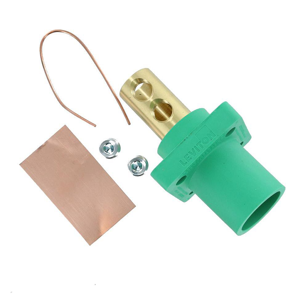 Leviton 400 Amp 16 Series Taper Nose Male Panel Receptacle 90° Cam-Type, Green