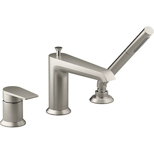 Hint Single-handle Deck-mount Bath Faucet with Handshower in Vibrant Brushed Nickel