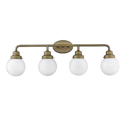 Luminaire pour salle de bain à 4 lumières en laiton brut