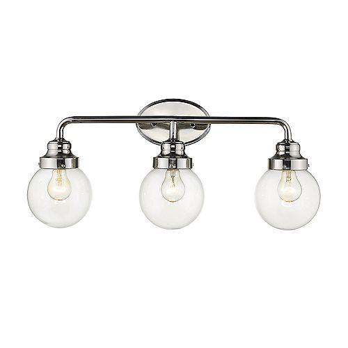 Luminaire pour salle de bain à 3 lumières en nickel poli