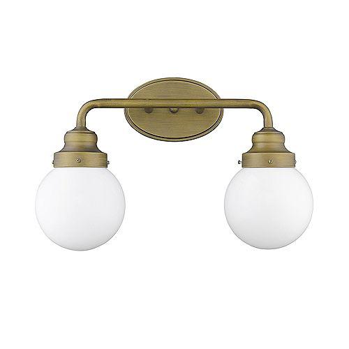 Luminaire pour salle de bain à 2 lumières en laiton brut