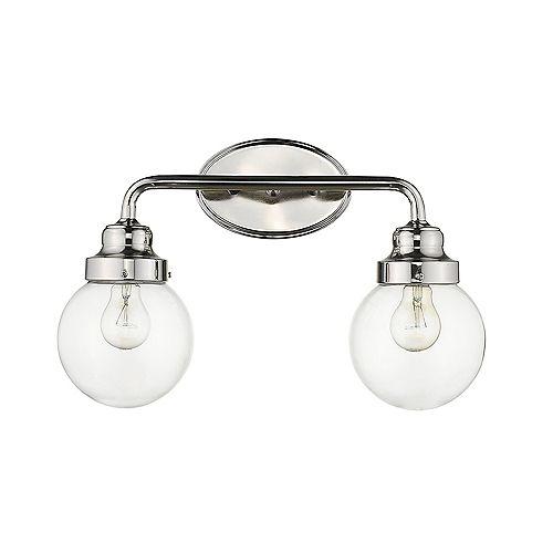 Luminaire pour salle de bain à 2 lumières en nickel poli