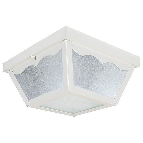 Builders' Choice 2-Light Outdoor Flushmount in Gloss White