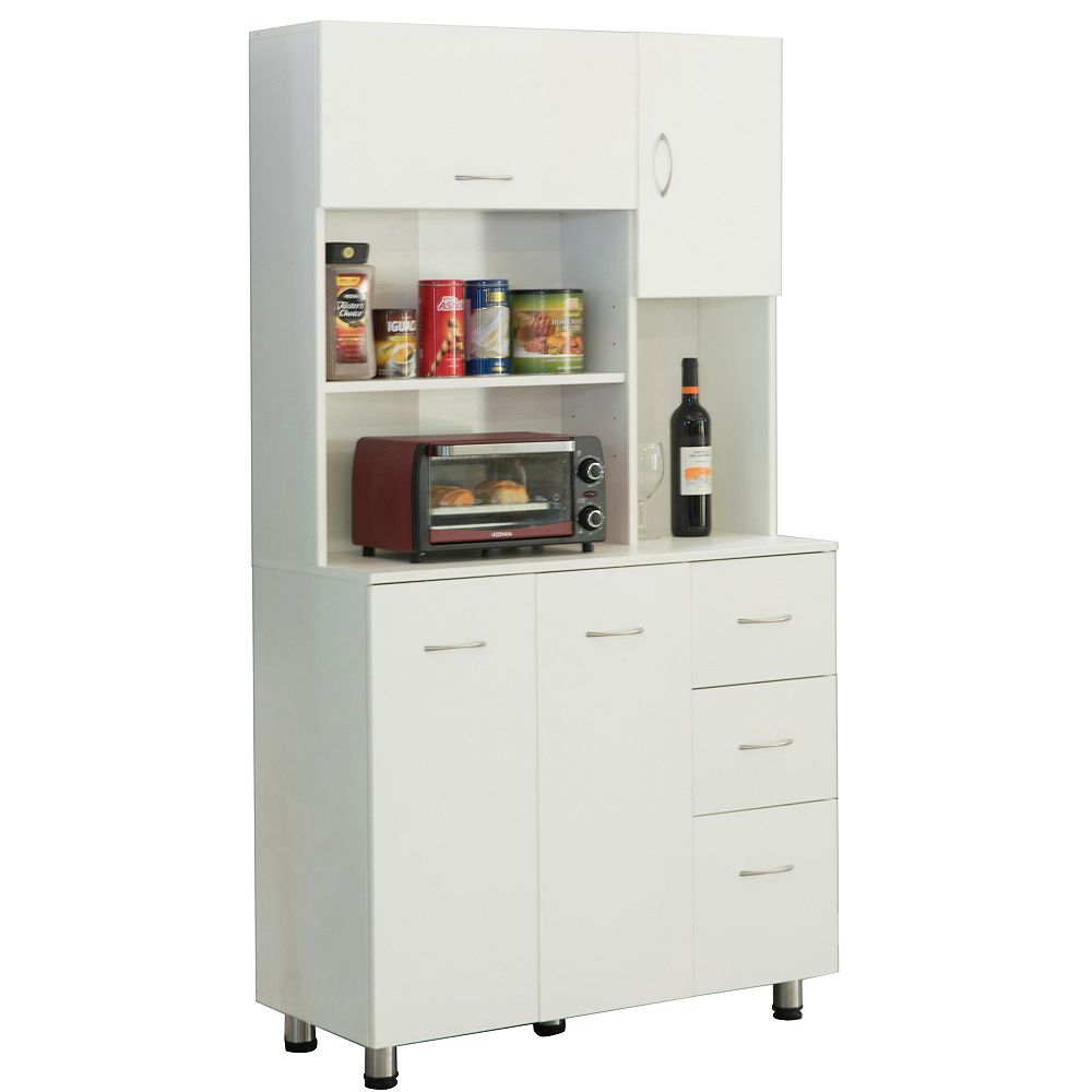 Basicwise Kitchen Pantry Storage Cabinet with Doors and Shelves, White