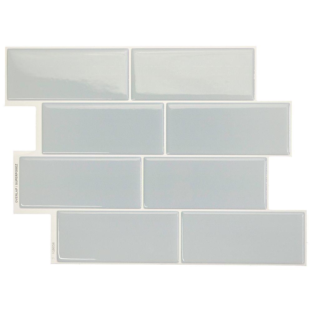 Smart Tiles Peel and stick backsplash Metro Mia tiles, Ceramic look, 11.56in. X 8.38in., Seafoam, 4-pack