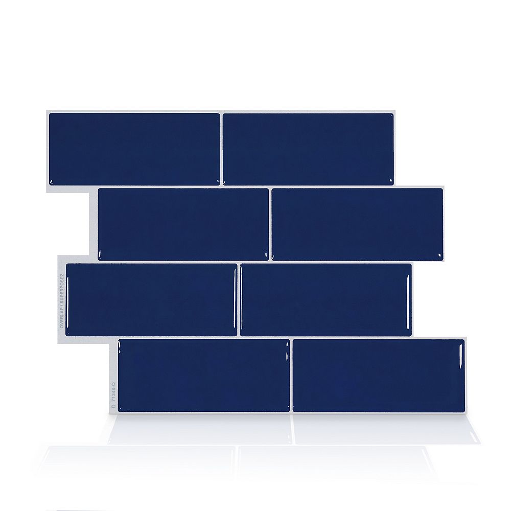 Smart Tiles Metro Kyle 11.56-inch W x 8.38-inch H Blue Peel and Stick Decorative Wall Tile (4-Pack)