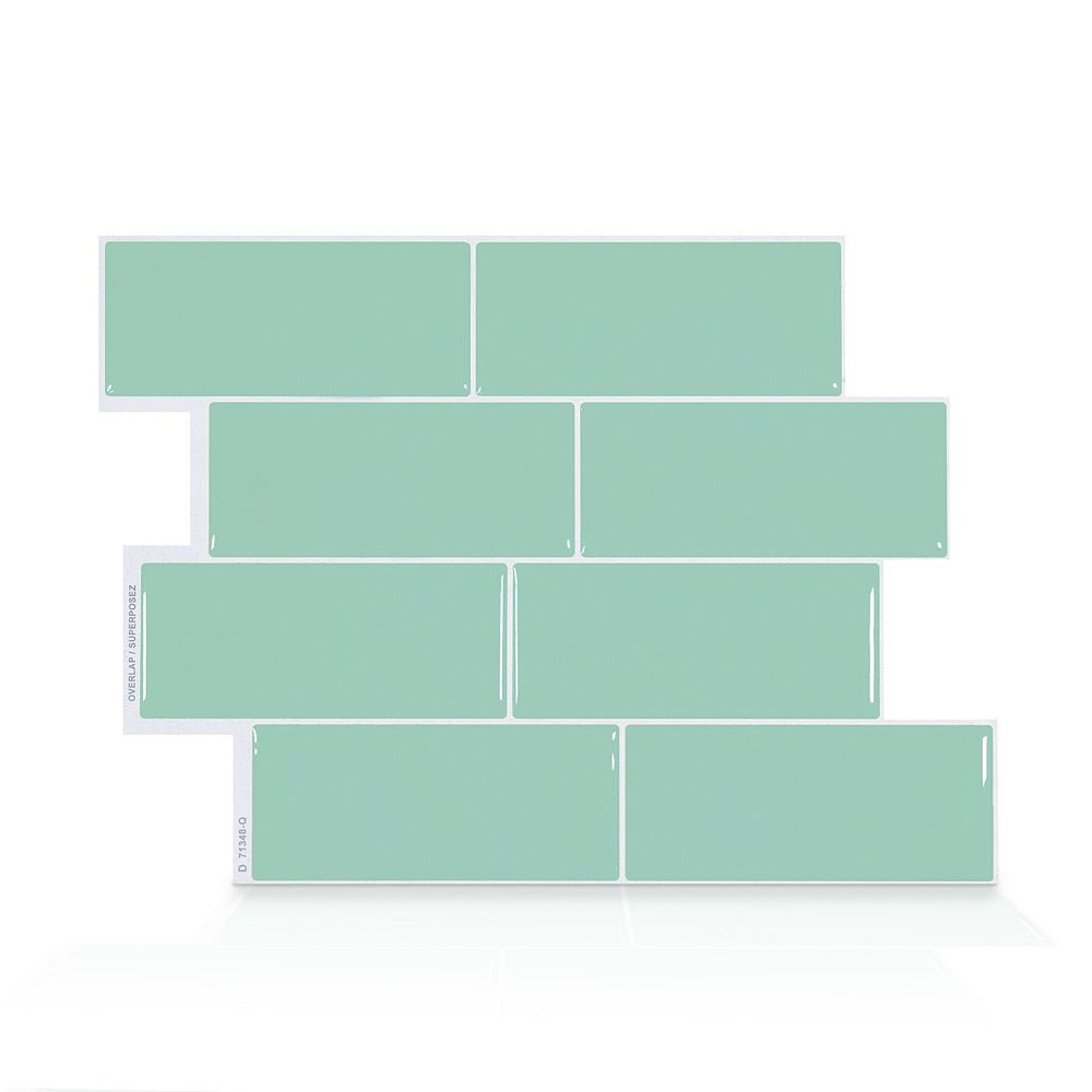 Smart Tiles Metro Lucas 11.56-inch W x 8.38-inch H Green Peel and Stick Decorative Wall Tile (4-Pack)