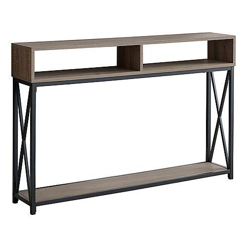 """Accent Table - 48""""L / Espresso / Black Metal Hall Console"""