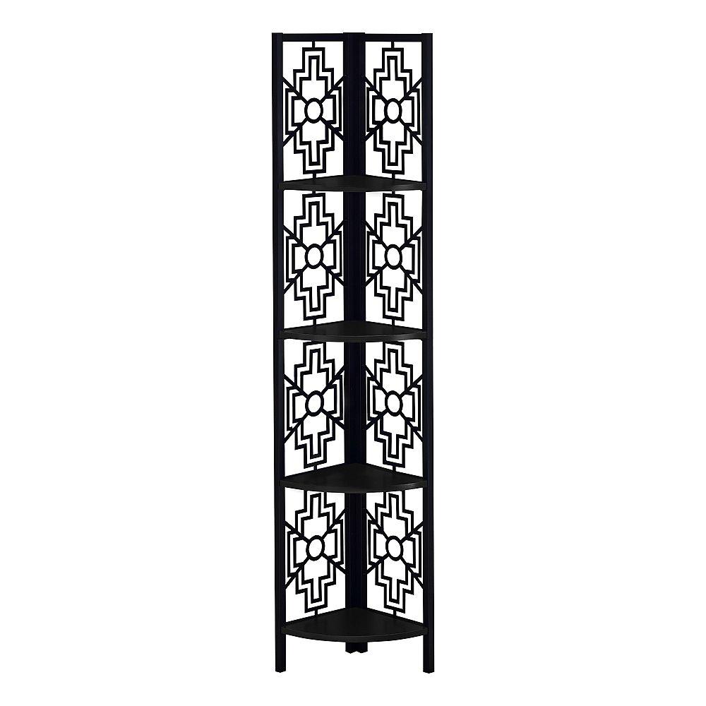 """Monarch Specialties Bookcase - 62""""H / Black / Black Metal Corner Etagere"""