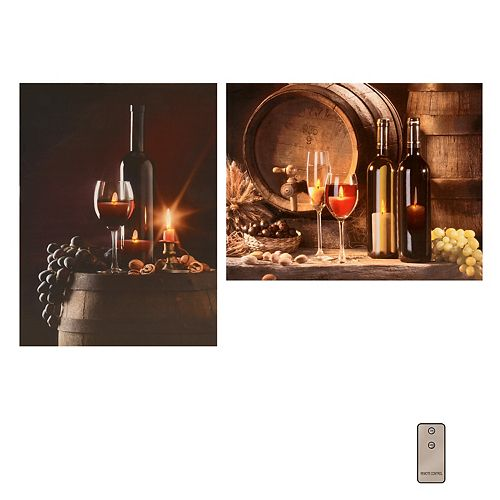 Battery Operated LED Lighted Wall Art - Wine (set of 2)