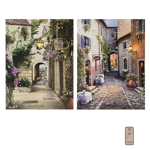 Battery Operated LED Lighted Wall Art - Italian Streets (set of 2)