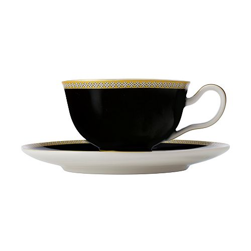 T&C's Contessa Classic Black cup and saucer 200 ml - Pack 2