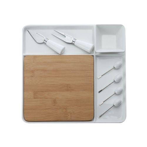 Basic White Bamboo 9 piece Square Entertainment Set