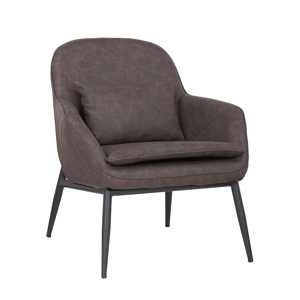 Bronte Living Leatherette Armchair with Metal Legs and Rubber Protectors - Series Austin - Dark Brown