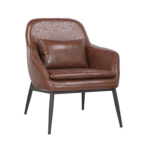 Leatherette Armchair with Metal Legs and Rubber Protectors - Series Austin - Vintage Brown
